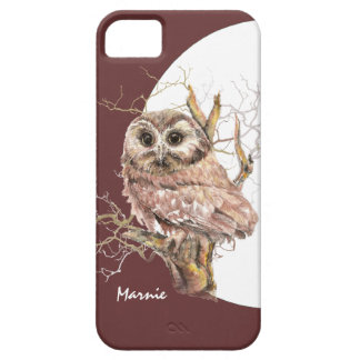 Cute Baby Owl, Moon,  Bird with Custom Name iPhone SE/5/5s Case