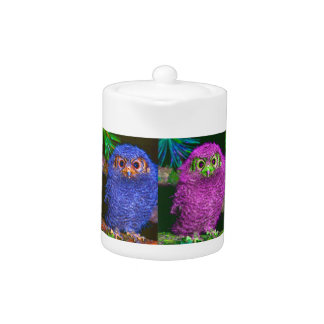 Cute Baby Owl on-a-Branch Multi Gifts Teapot