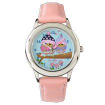 Cute baby owl on a branch with custom name wrist watch