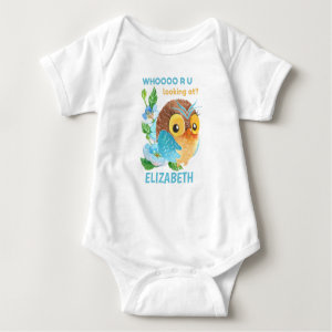 Cute Baby Owl Personalized Named Baby Clothing Baby Bodysuit