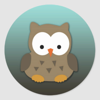 Cute Baby Owl Personalized Round Stickers