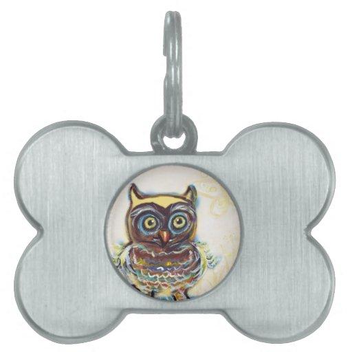 cute baby owl pet name tag