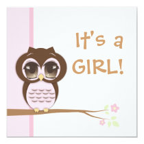 Cute Baby Owl Pink Girl Baby Shower Invitation