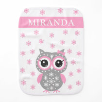 Cute Baby Owl Pink Gray Custom Name Burp Cloth