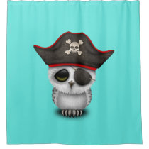 Cute Baby Owl Pirate Shower Curtain