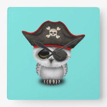 Cute Baby Owl Pirate Square Wall Clock