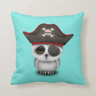 Cute Baby Owl Pirate Throw Pillow