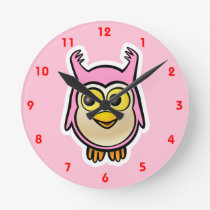 Cute Baby Owl Round Clock