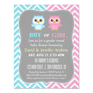 Cute Baby Owl Theme Chevron Gender Reveal Party 4.25x5.5 Paper Invitation Card