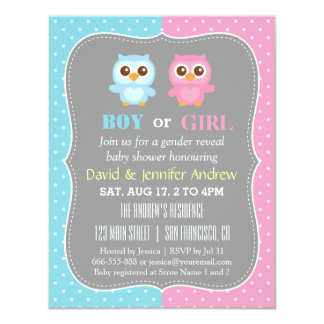 Cute Baby Owl Theme Gender Reveal Party Card