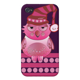 Cute Baby Owl with Nightcap & name Cover For iPhone 4