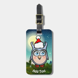 Cute Baby Owl With Santa Claus Hat Bag Tag