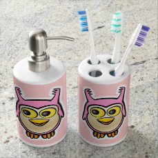 Cute Baby Owls Soap Dispenser And Toothbrush Holder