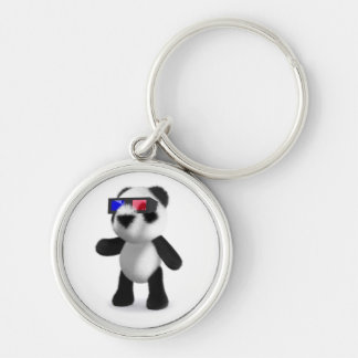 Cute Baby Panda 3d Glasses Silver-Colored Round Keychain
