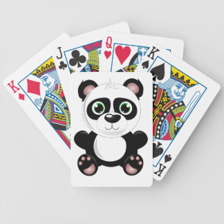 Cute baby panda animation cartoon illustration bicycle playing cards