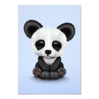 Cute Baby Panda Bear Cub on Light Blue 3.5x5 Paper Invitation Card