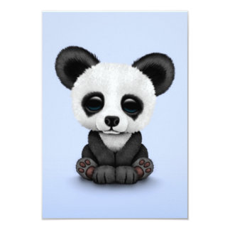 Cute Baby Panda Bear Cub on Light Blue Card