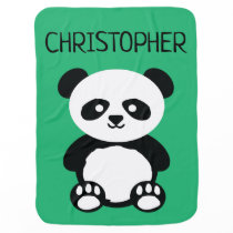 Cute Baby Panda Bear Kawaii Personalized Green Baby Blanket