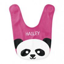 Cute Baby Panda Bear Kawaii Personalized Pink Baby Bib