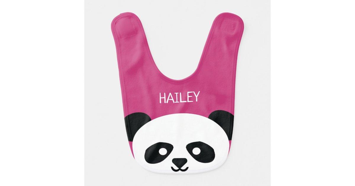 Cute Baby Panda Bear Kawaii Personalized Pink Baby Bib Zazzle Com