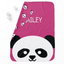 Cute Baby Panda Bear Kawaii Personalized Pink Baby Blanket