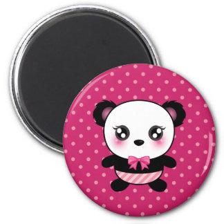 Cute Baby Panda Bear Pink Polka Dots Pattern 2 Inch Round Magnet