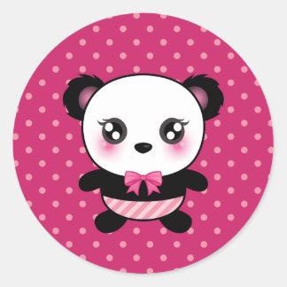 Cute Baby Panda Bear Pink Polka Dots Pattern Classic Round Sticker