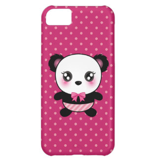 Cute Baby Panda Bear Pink Polka Dots Pattern iPhone 5C Case
