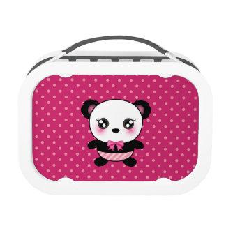 Cute Baby Panda Bear Pink Polka Dots Pattern Yubo Lunchbox