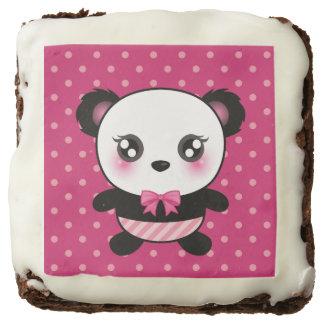 Cute Baby Panda Bear Pink Polka Dots Pattern Square Brownie