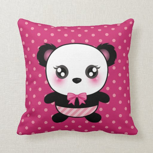 Cute Panda Pillow : Cute Baby Panda Bear Pink Polka Dots Pattern Pillow Zazzle