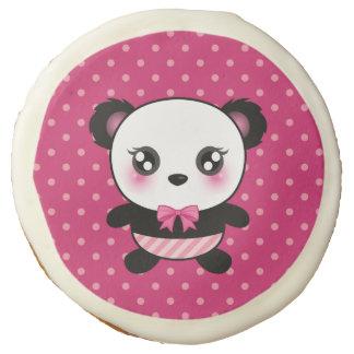 Cute Baby Panda Bear Pink Polka Dots Pattern Sugar Cookie