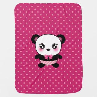 Cute Baby Panda Bear Pink Polka Dots Pattern Receiving Blankets
