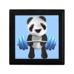 Cute baby panda bear powerlifter in 3d (editable) jewelry box