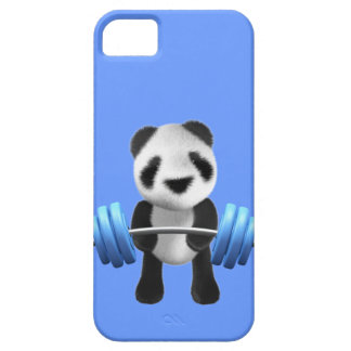 Cute baby panda bear powerlifter in 3d (editable) iPhone SE/5/5s case