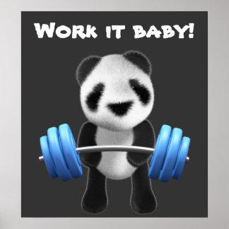 Cute baby panda bear powerlifter in 3d (editable) print