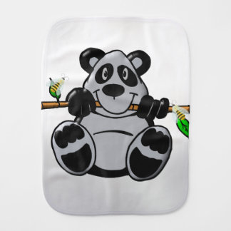 Cute Baby Panda Eating Bamboo Burp Cloth