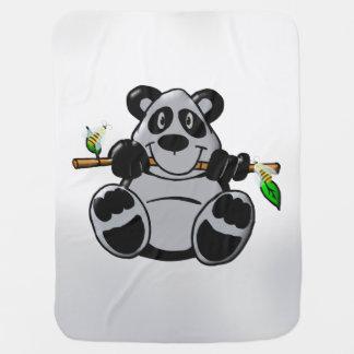 Cute Baby Panda Eating Bamboo Stroller Blanket