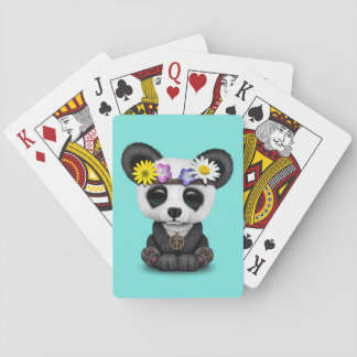 Cute Baby Panda Hippie Playing Cards