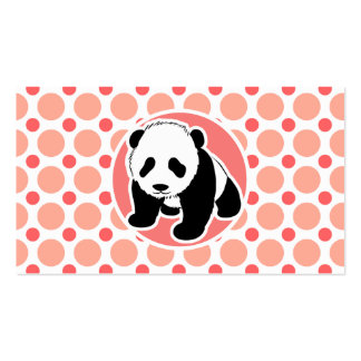 Cute Baby Panda; Pink & Coral Polka Dots Business Card Template