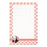 Cute Baby Panda; Pink & Coral Polka Dots Customized Stationery