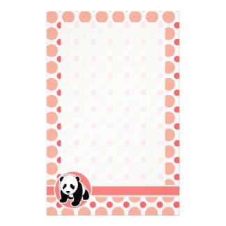 Cute Baby Panda; Pink & Coral Polka Dots Stationery