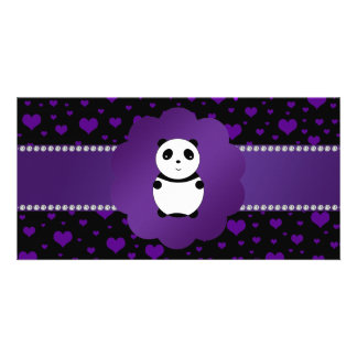 Cute baby panda purple hearts photo card template
