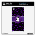 Cute baby panda purple hearts decal for the iPhone 4S