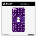 Cute baby panda purple stars and moons decals for iPhone 4S