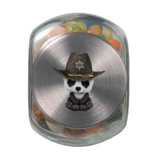 Cute Baby Panda Sheriff Jelly Belly Candy Jars