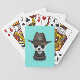 Cute Baby Panda Sheriff Playing Cards