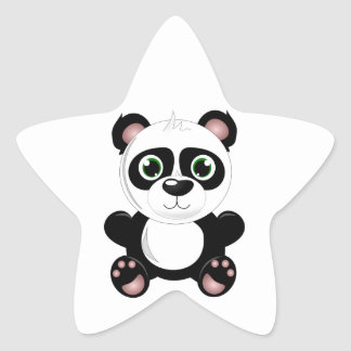 Cute Baby Panda Star Sticker