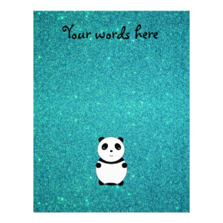 Cute baby panda turquoise glitter flyer design