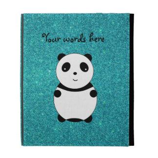 Cute baby panda turquoise glitter iPad folio cover